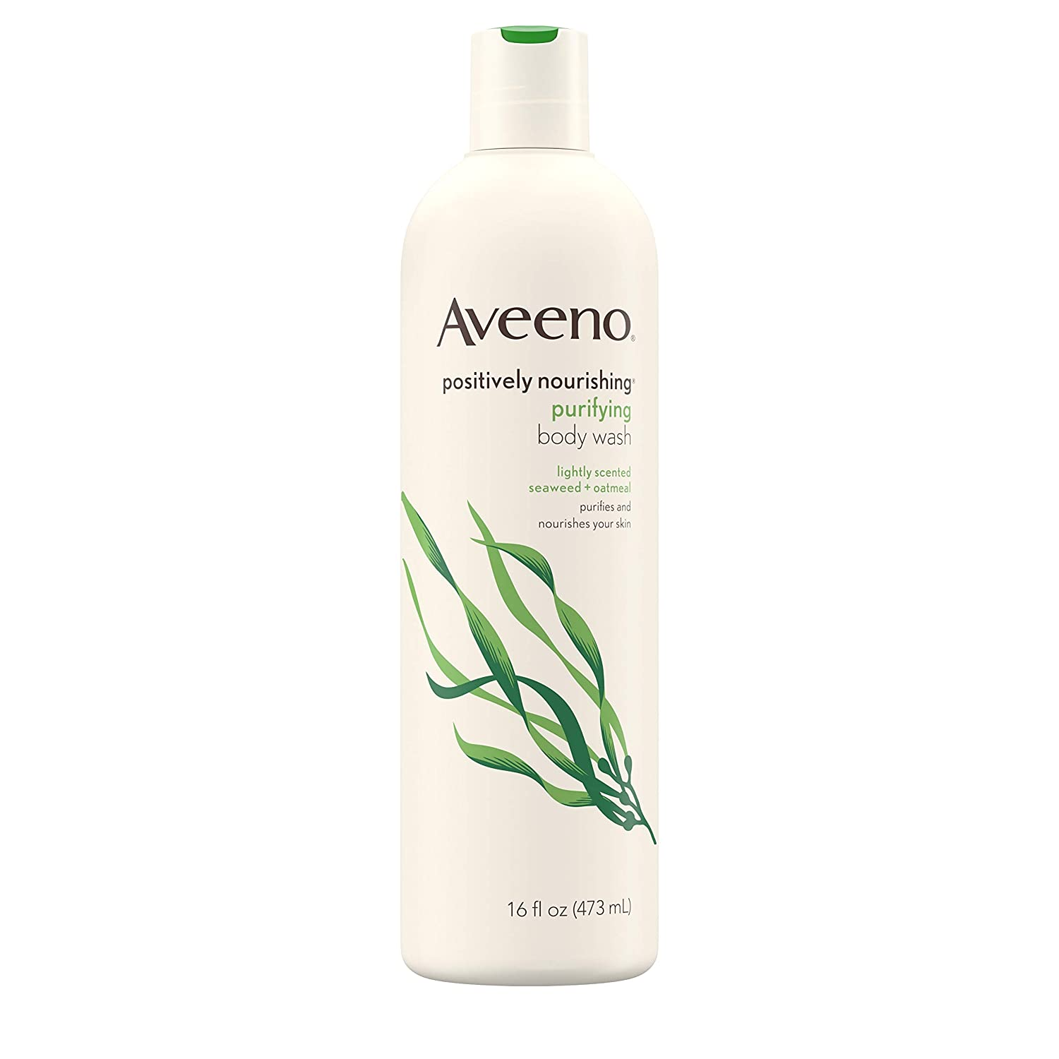 Aveeno Positively Nourishing Purifying Body Wash with Seaweed & Soothing Oatmeal, Lightly Scented Daily Moisturizing Body Wash, 16 fl. oz