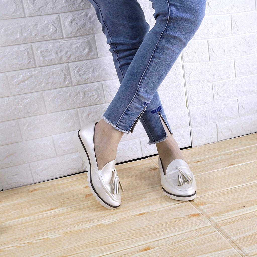 Reokoou Ladies Flat Bottom Retro Fringe Shallow Lazy Shoes Low to Help Lok Fu Peas Shoes