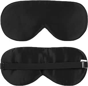 100% Natural Silk Sleep Mask 25 Momme Adjustable Strap Cooling Eye Mask Comfortable Night Sleeping Super Soft Eyeshade with Every Nap Position Ultimate Sleeping Aid Blindfold Blocks Light, Black
