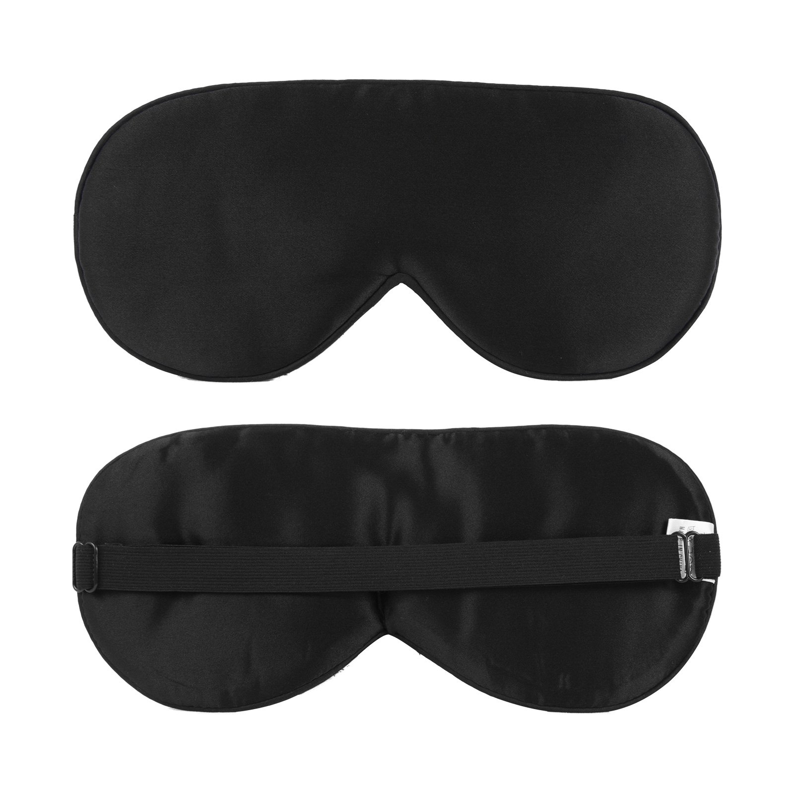 Silk Sleep Mask with Adjustable Strap for A Comfortable Whole Night Sleeping Lightweight and Super Soft Eye Mask Night Blindfold Eyeshade for Men Women Kids for Travel Airplane Shift Work Naps, Black