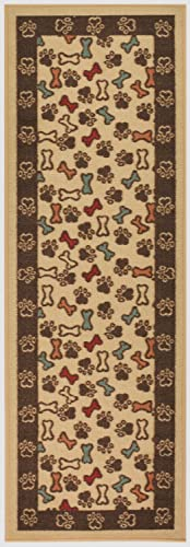 RugStylesOnline Pet Collection Bones and Paws Runner Mat Beige Multi Color Slip Skid Resistant Rubber Backing Beige, 1 10 x 6 11 Runner