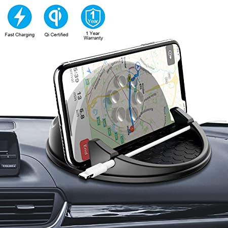 Wireless Car Charger Mount, Wonsidary Dashboard 10W 7.5W Qi Fast Charging Car Mount Phone Holder Compatible iPhone Xs Max Xs XR X 8 8, Samsung S10 S10 S9 S9 S8 S8