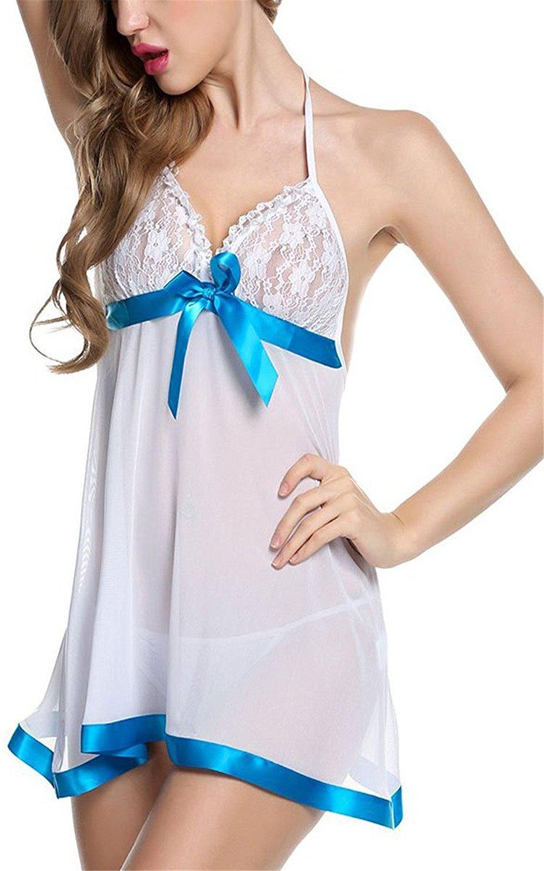 HuoGuo Dress Babydoll Hollow Lace Lingerie Set with G-stiing WhiteMedium