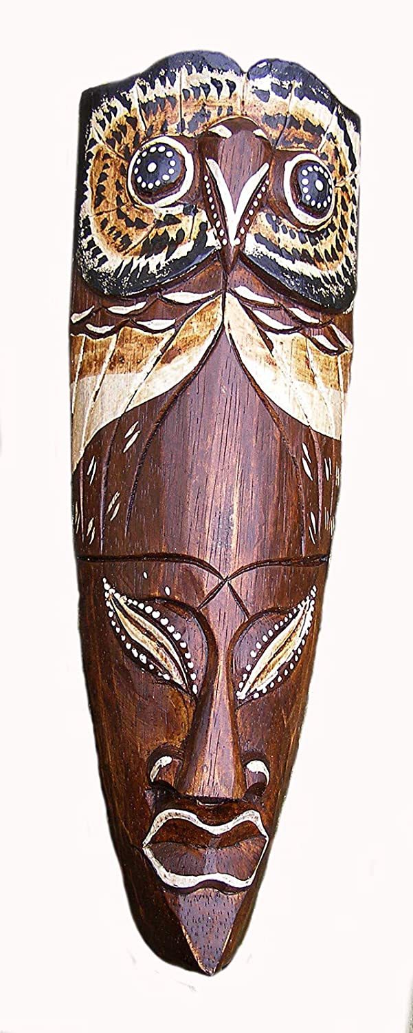 Cornwall Art Prints African Mask, Owl Design Hand Carved Wood 30cm tall Wall Hanging Unknown