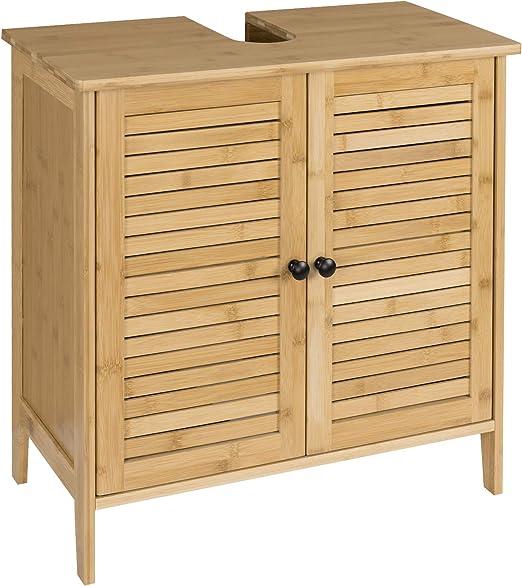 eSituro Mueble Bajo Lavabo Armario de Suelo para Baño Mueble de Baño Organizador Estante de Baño Armario de Almacenamiento, Bambú Natural 60x30x60cm SBP0025: Amazon.es: Hogar