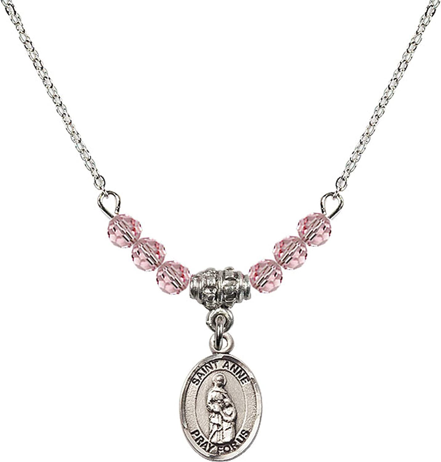 Bonyak Jewelry 18 Inch Rhodium Plated Necklace w// 4mm Light Rose Pink October Birth Month Stone Beads and Saint Anne Charm