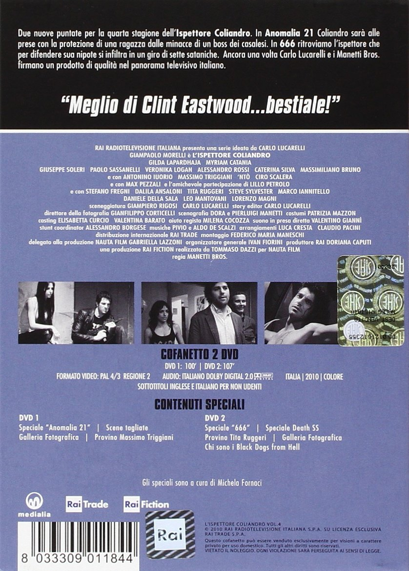Amazon.com: Inspector Coliandro Vol. 4 - 2-DVD Box Set (Lispettore Coliandro)  [ NON-USA FORMAT, PAL, Reg.2 Import - Italy ]: Giampaolo Morelli, ...