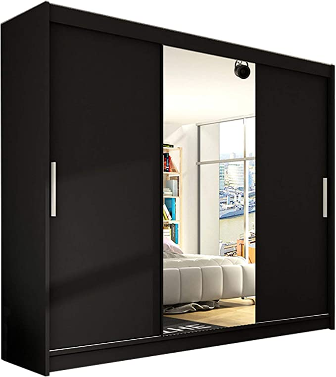 Schwarze Kleiderschränke mit Spiegel