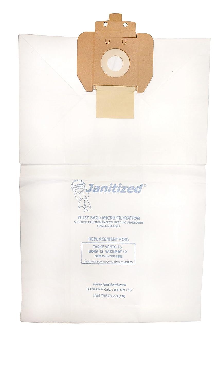 Janitized JAN-TABO12-2(10) Premium Replacement Commercial Vacuum Paper Bag for Taski Bora 12, Vacuum Cleaners, OEM#8504150 (Pack of 10)