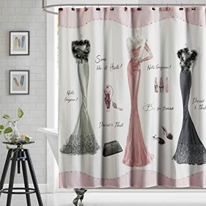 DS CURTAIN Dressed To Thrill Pink Shower CurtainMildew Resistant Fabric Curtain Waterproof