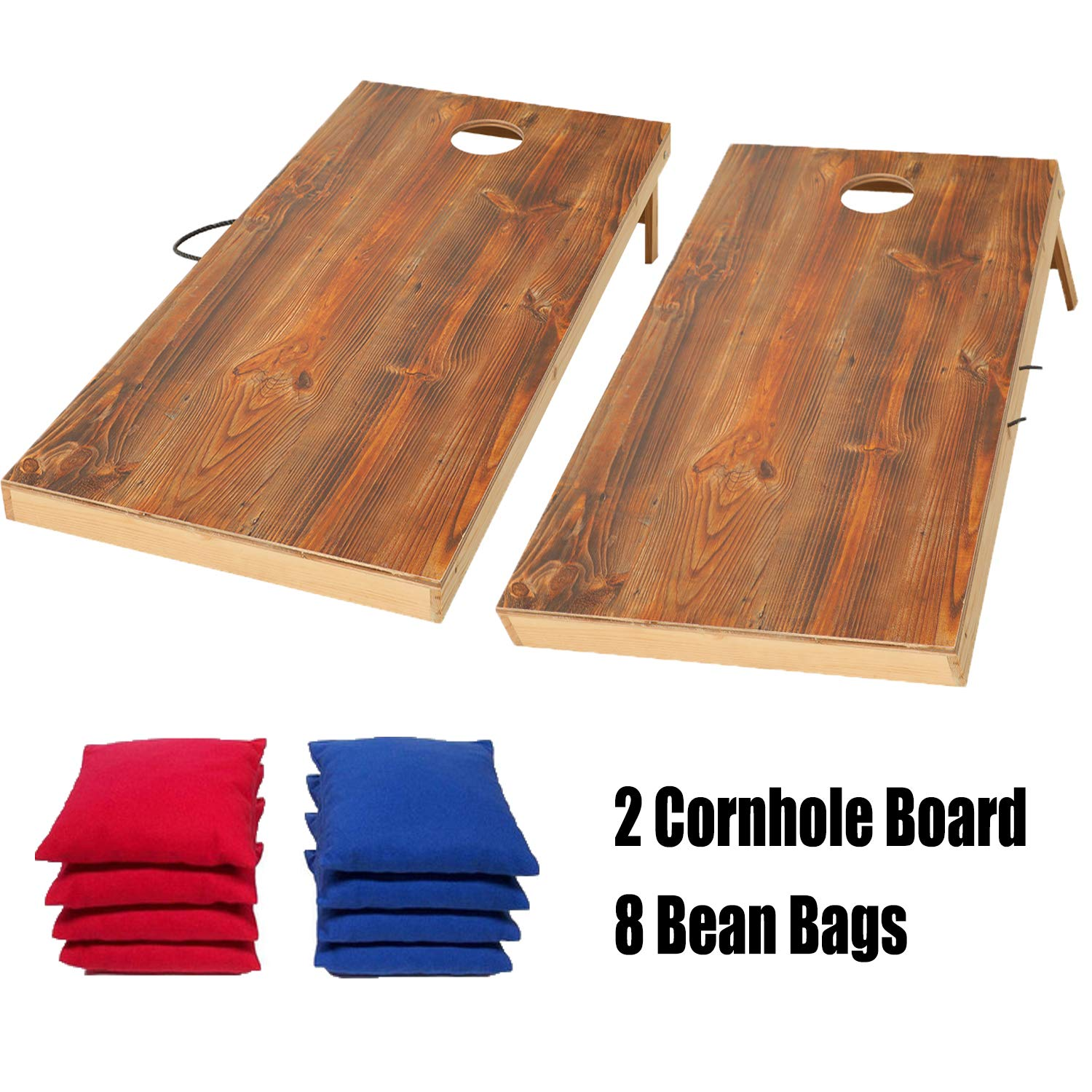 OOFIT Solid Wood Premium Cornhole Game Set with Vintage, Durable Printed Surface and Underneath, Portable CornHole Bean Bag Toss Game Tailgate Regulation Size) OOFIT-SBD-MW1-2M3