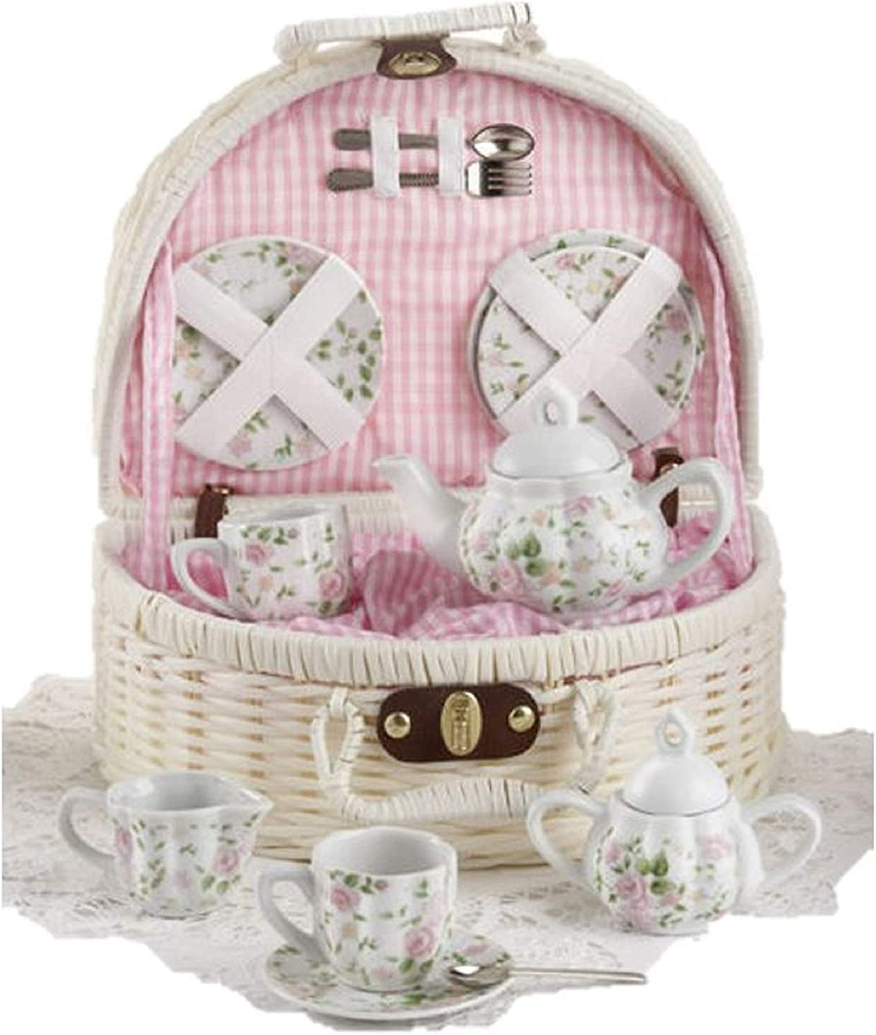 Porcelain Tea Set in Basket Pink Bella Ballerina