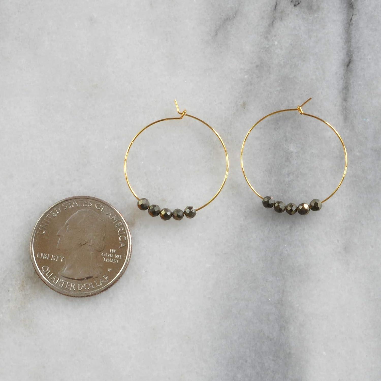 Gemstone 1 inch Hoops Gold-Plated Pyrite Semi-Precious Grey Beads Everyday Earrings