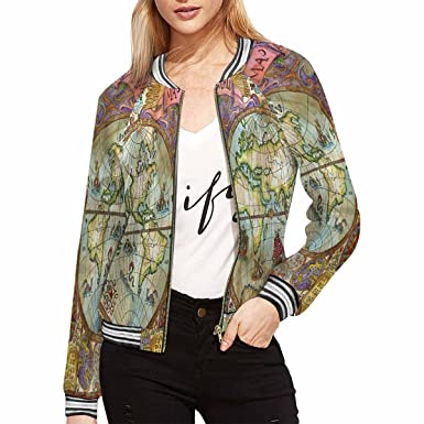 Interestprint womens casual bomber jackets world atlas map on interestprint womens casual bomber jackets world atlas map on antique paper xs gumiabroncs Images