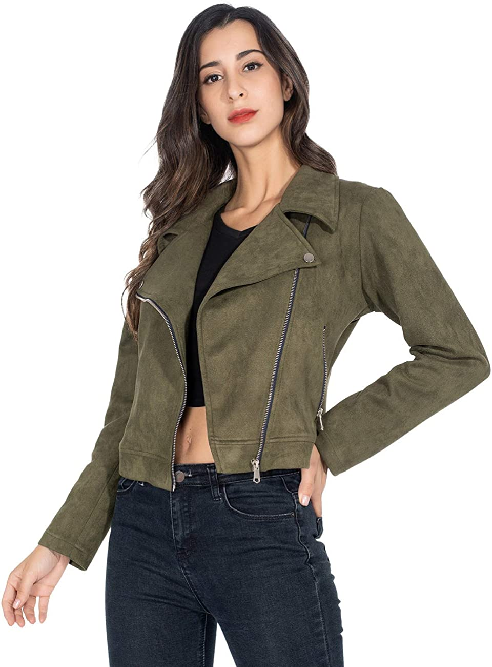 Brovollous Women Faux Suede Jackets Zipper Cropped Jacket Solid Moto Coat