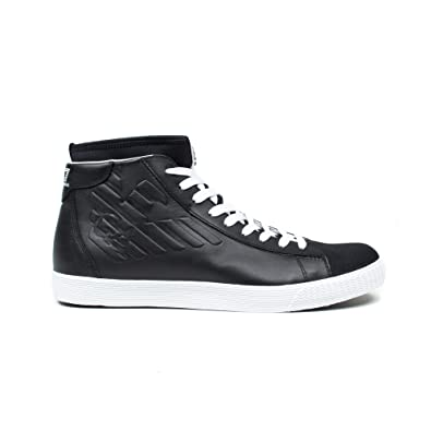 5ce25154e86 Emporio Armani Men s Scarpe Sneakers Alte Uomo In Pelle nuove Star Trainers  Black Black Black Size  6  Amazon.co.uk  Shoes   Bags