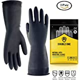 """Double One Chemical Resistant Gloves,Safety Work Cleaning Protective Heavy Duty Industrial Gloves,Natural Latex 12.2"""" Length Black 1 Pair Size M (Medium)"""