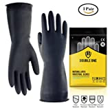"""latex gloves Double One Industrial gloves Natural Latex Indusrial Protection gloves 12.2"""" Length Size M Black 1 Pairs(Size M)"""