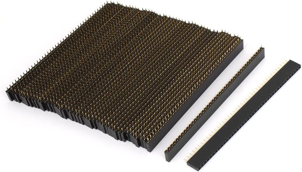 uxcell 50Pcs Straight Female PCB Header 40 Way 2.54mm Spacing Connector Black