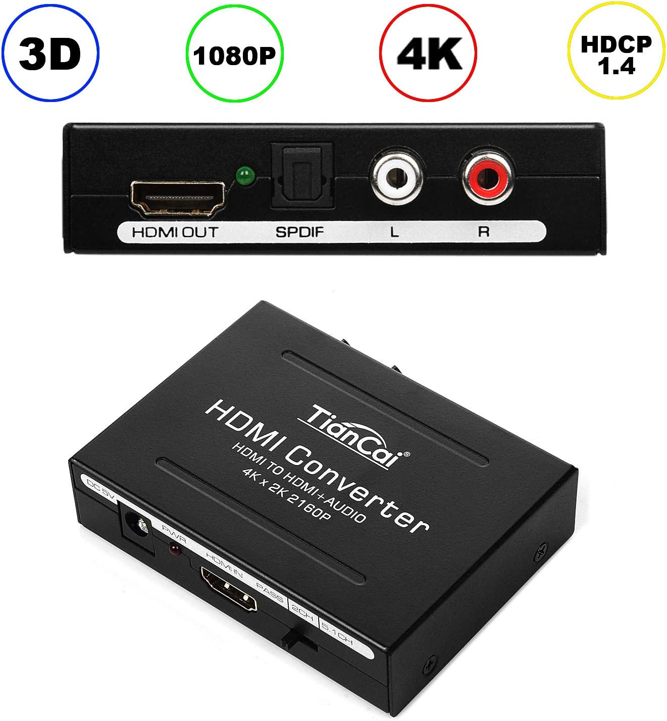 HDMI Audio Extractor 4K, Tiancai HDMI to HDMI + RCA R/L or Optical SPDIF Converter, Compatible with Chromecast Fire Stick Blu-Ray Player PS4 Speaker Amplifier Soundbar Headphone, Support 3D CEC