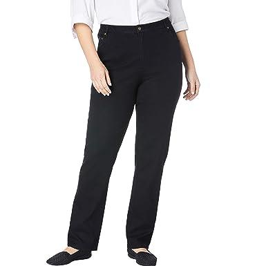 69973982dd Woman Within Women's Plus Size Straight Leg Stretch Jean - Black Denim, ...