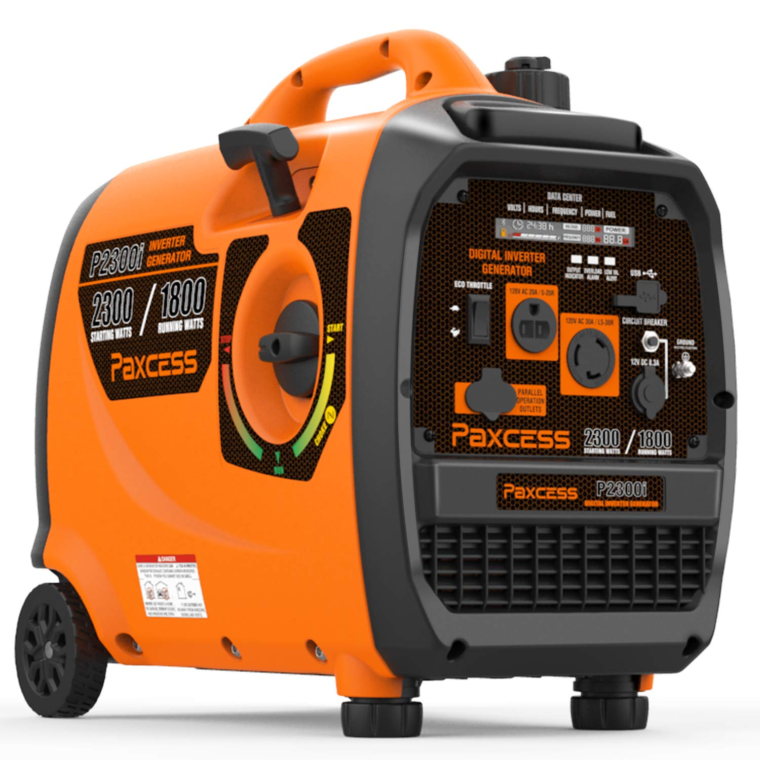 PAXCESS Super Quiet Inverter Generator, 2300 Watts Portable Generator Gas Powered RV Generator with Wheels and Handle, LCD Display Screen/Eco-Mode/Parallel Ready/CARB Complaint