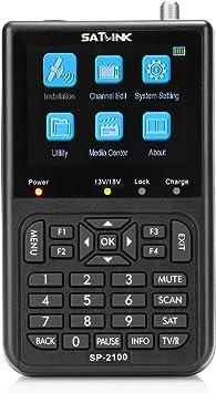 SATLINK SP-2100 HD DVB-S / S2 y MPEG-2/4 Medidor de señal de satélite digital con pantalla LCD a color de 3,5 pulgadas para ajustar la antena ...