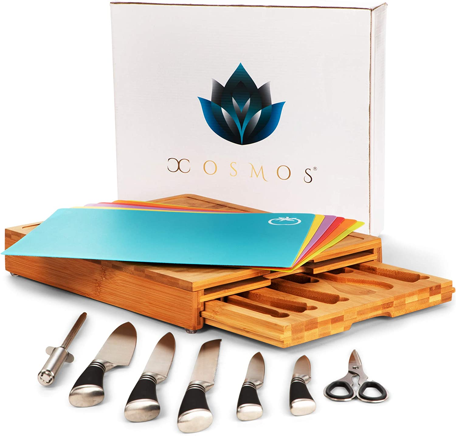 XOSMOS Professional Bamboo Cutting Board with Durable 7 Piece Knife Set and Mats - Premium Chopping Boards, Space Saving Butcher Blocks - Kitchen Accessories, Multifunctional