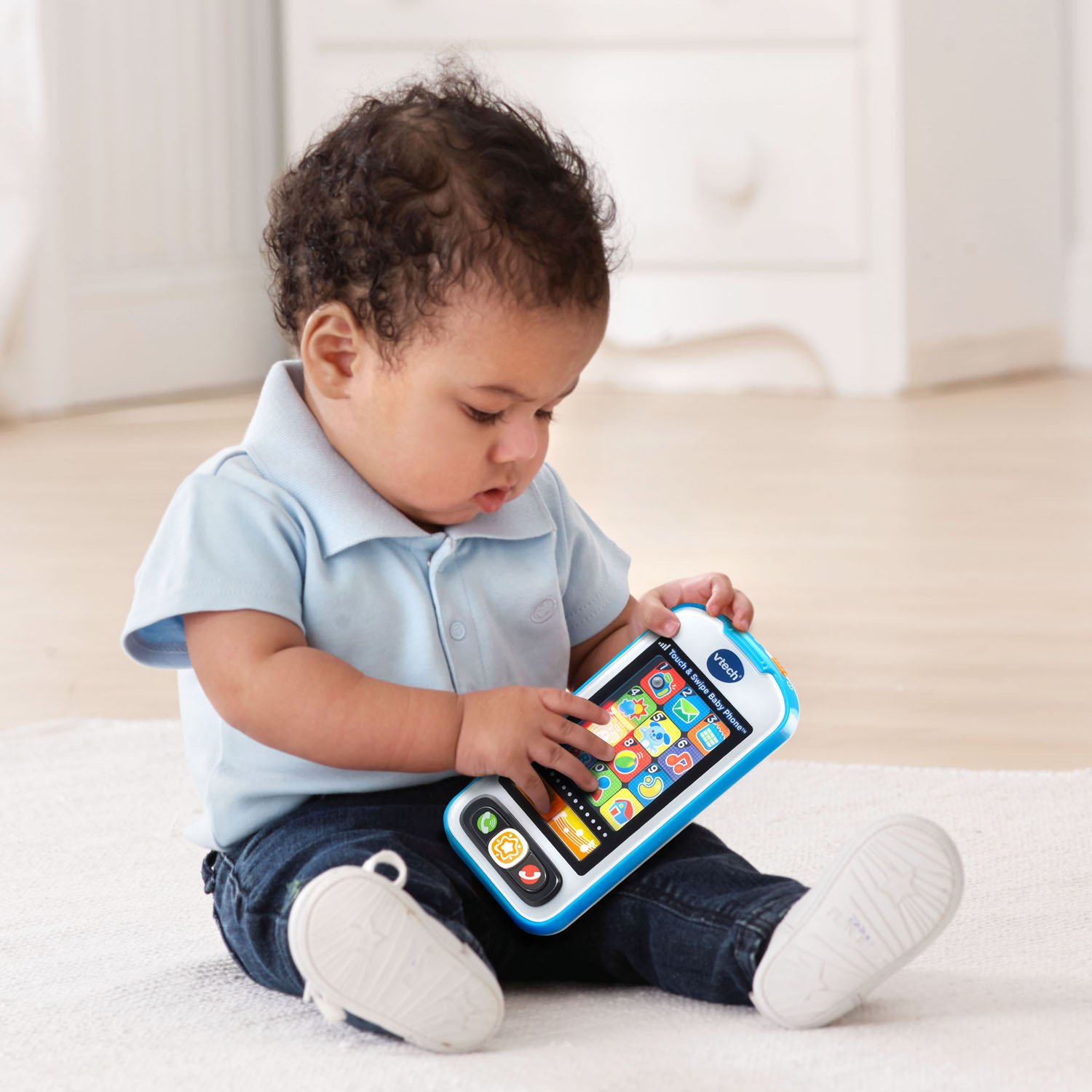 Amazon VTech Touch and Swipe Baby Phone Blue line