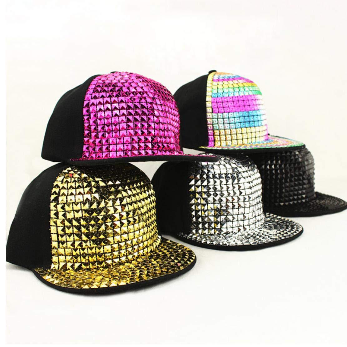 Unisex brillante de lentejuelas reflectante gorra de b/éisbol de los remaches del casquillo del Snapback Caps Hip Hop para Adultos Ni/ños