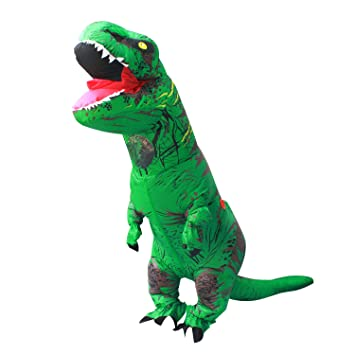 Halloween adulto inflable T Rex Dinosaur Partido traje Funny Dress Verde con mochila y cable USB