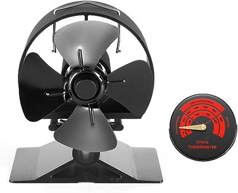 Ventilador de Estufa Ventilador de Chimenea con 4 Aspas para Estufa y Chimenea Ventilador Silencioso