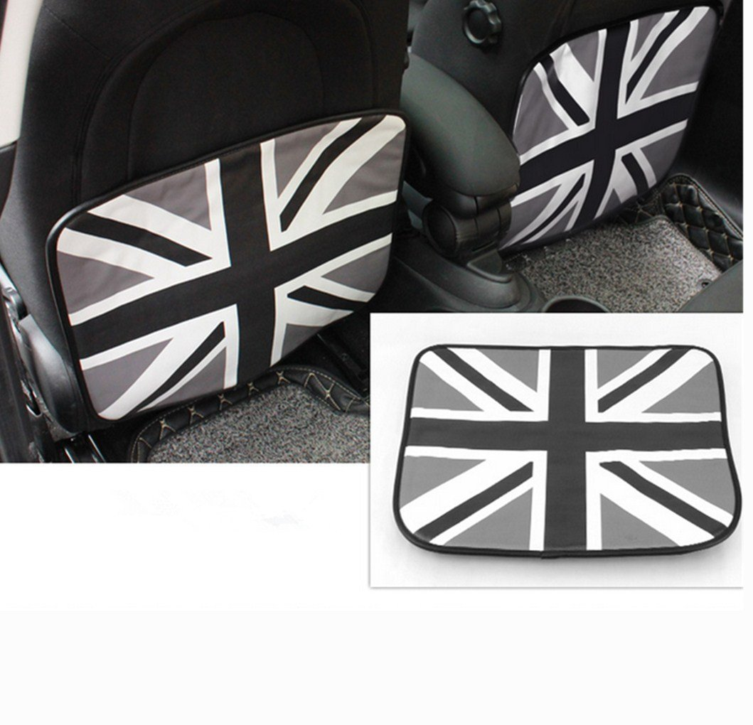 Yuwaton Universal car foot mat car seat rear anti-kick pad armrest pad protection pad mat for MINI Cooper F55 F56 F57 F58 and other car. (black England)