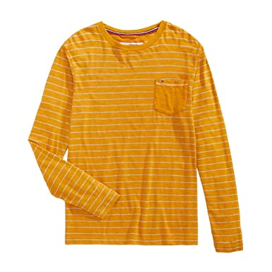 1623e6fb Tommy Hilfiger Mens Woodson Striped Pullover T-Shirt Orange XL ...