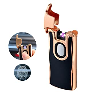 USB Double Arc Lighter Fingerprint Touch Rechargeable Windproof Flameless Dual Arc Plasma Electric Cigarette Lighters Q&G