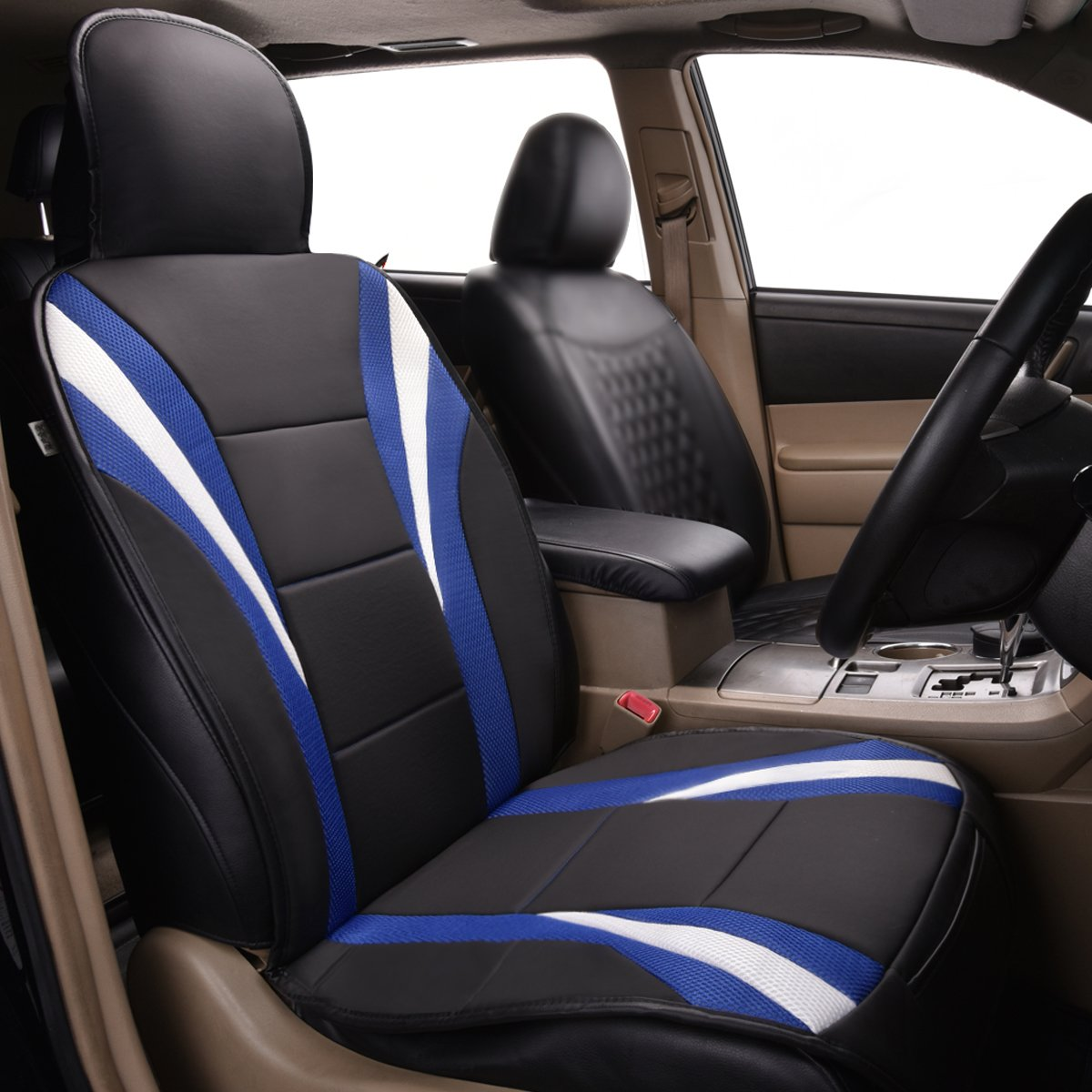 CAR PASS Delux Sideless Universal Fit Car Seat Cover FOR 1 SET With carriage Bag NEW ARRIVAL Two set Black and blue color