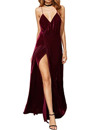 8e1e866214 Verdusa Women s Sexy V-Neck Backless Wrap Velvet Cocktai Party Dress  Burgundy XXS