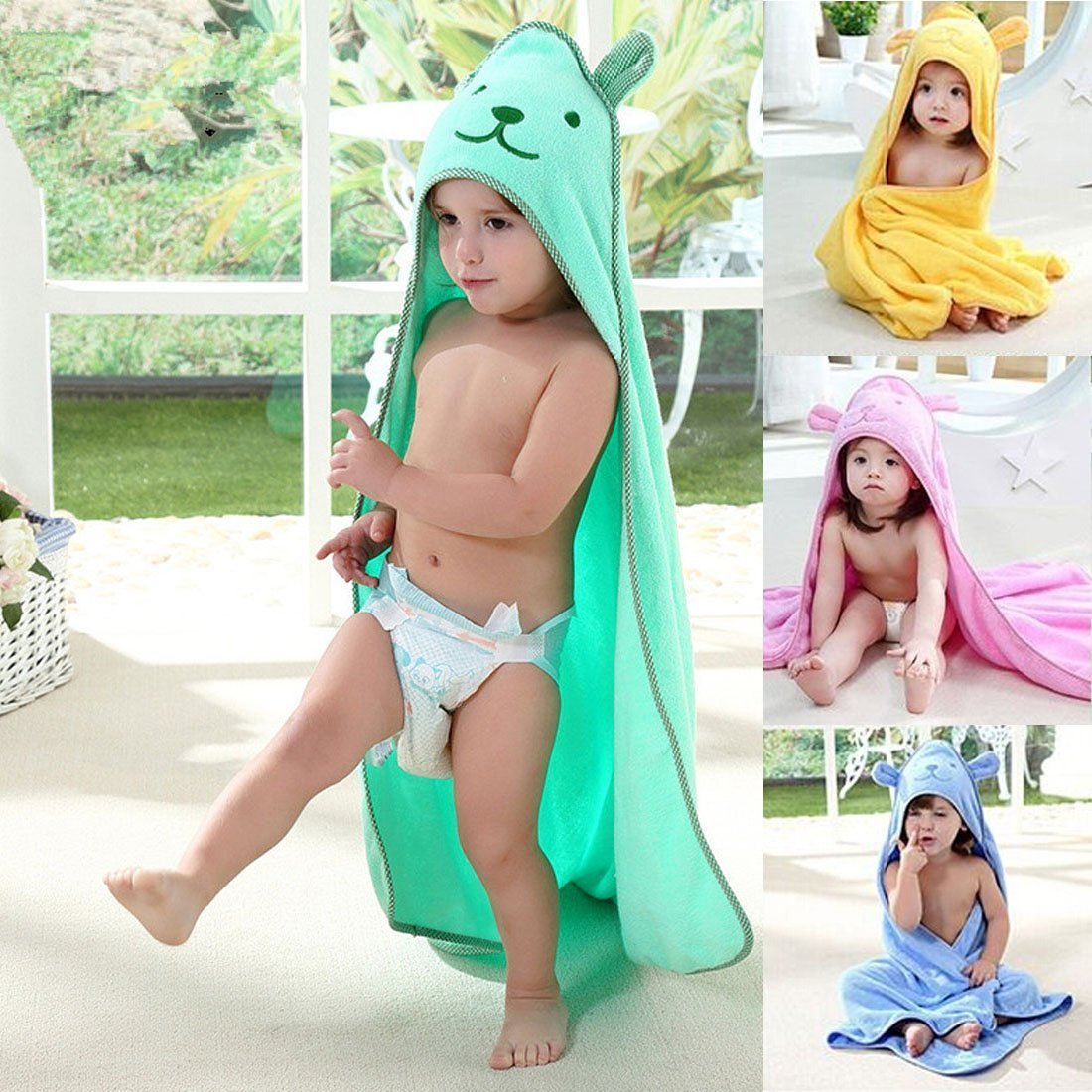 Baby Hooded Towel with Bear Ear- Soft and Thick 100% Cotton Bath Set for Girls, Boys, Infant ad Toddler, Good Choice (Green)