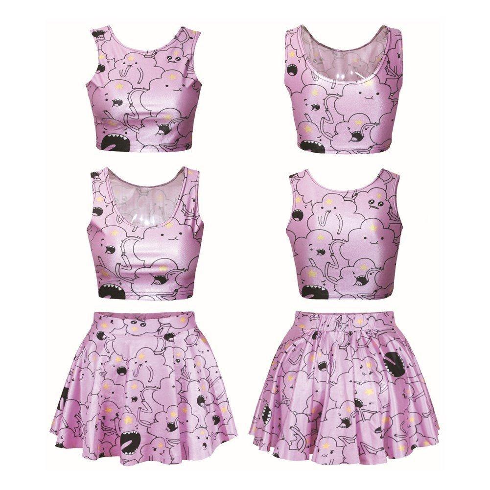 Hamrank Teens Girls Graphic Print Crop Tank Tops/Flared Skater Skirt Set for Women HM-US-K040-BE1-R