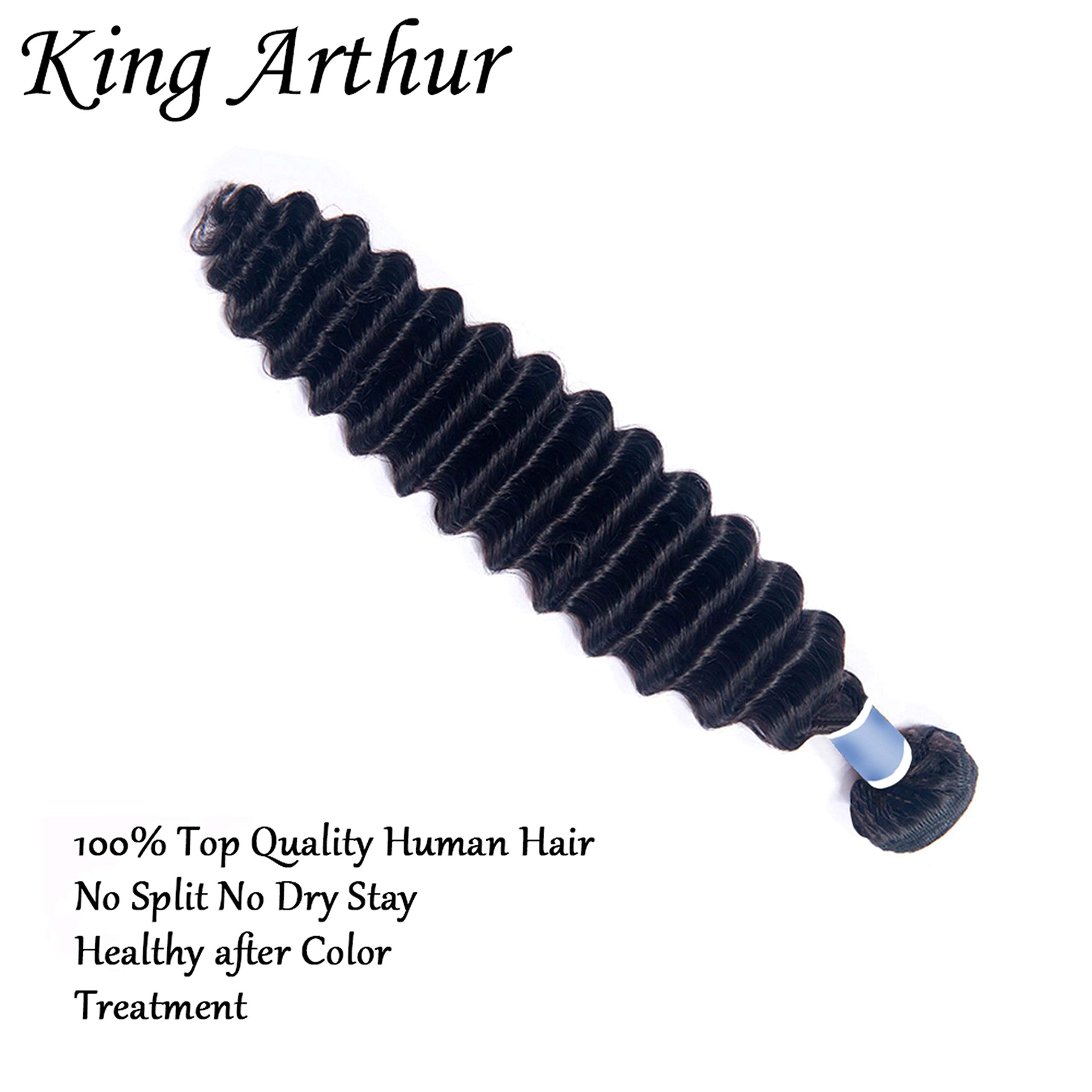 KING ARTHUR Hair 100% Human Hair Bundles Deep Wave Bundles Soft Human Hair Extension Natural Black Color for Women girls (20'') by King Arthur