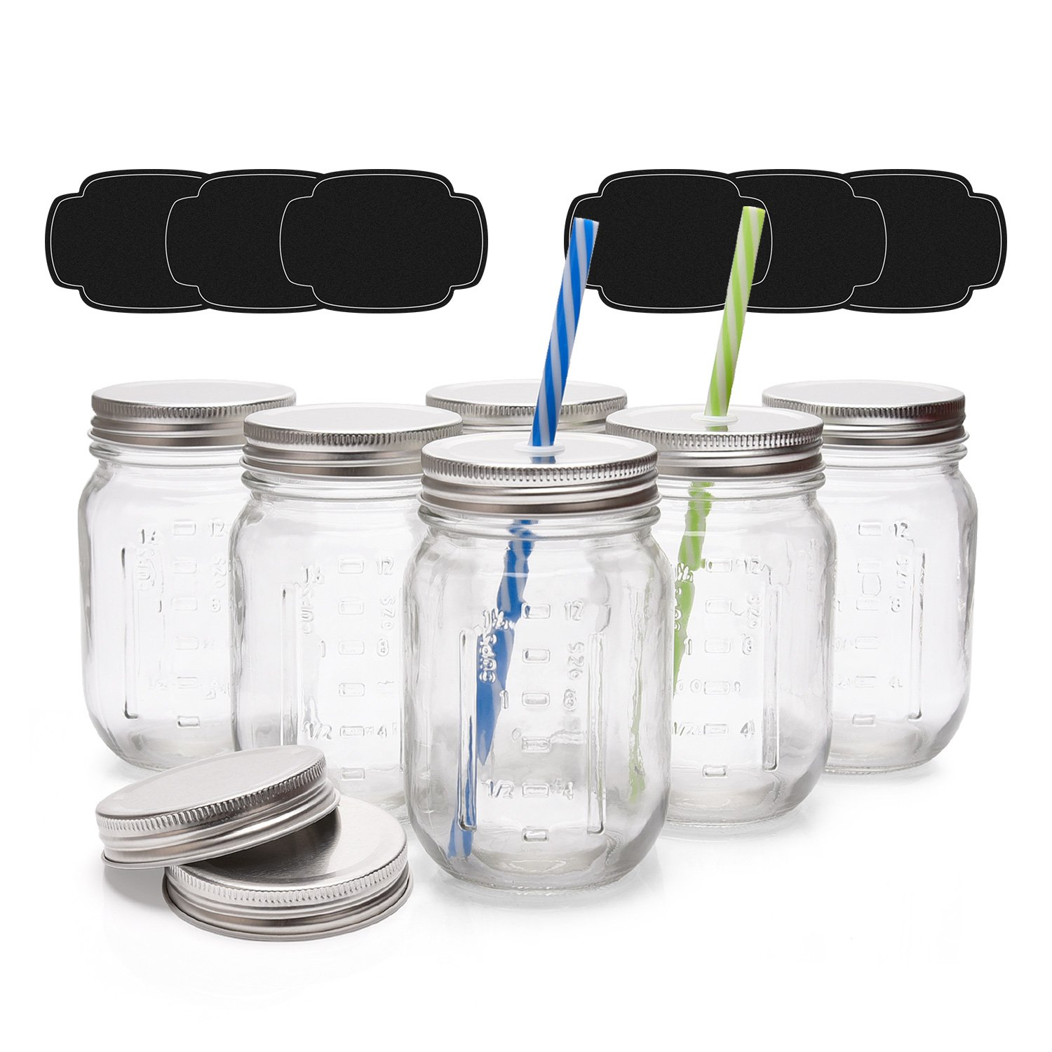 Mason Glass Jars 16oz (1 Pint) ULG Regular Mouth Lids and Band Canning Jelly Jars Set of 6 for Kitchen Canisters with Straw Holes Lids 2 pcs and Plastic Straws 2 Pcs