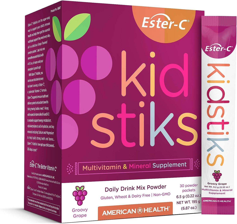 American Health Ester-C Kidstiks Powder Packets, Groovy Grape, 30 Packets - 250 mg, Ester-C Vitamin C Immune Support for Kids - Non-GMO, Gluten-Free, Vegan - 30 Servings