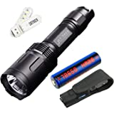 JETBeam TH20 3150 Lumens CREE XHP70 2 LED Triple Tail Switch High-performance Tactical Flashlight,Designed for Tactical Activities and Military Use,with High-rate 18650 Battery and SKYBEN USB Light