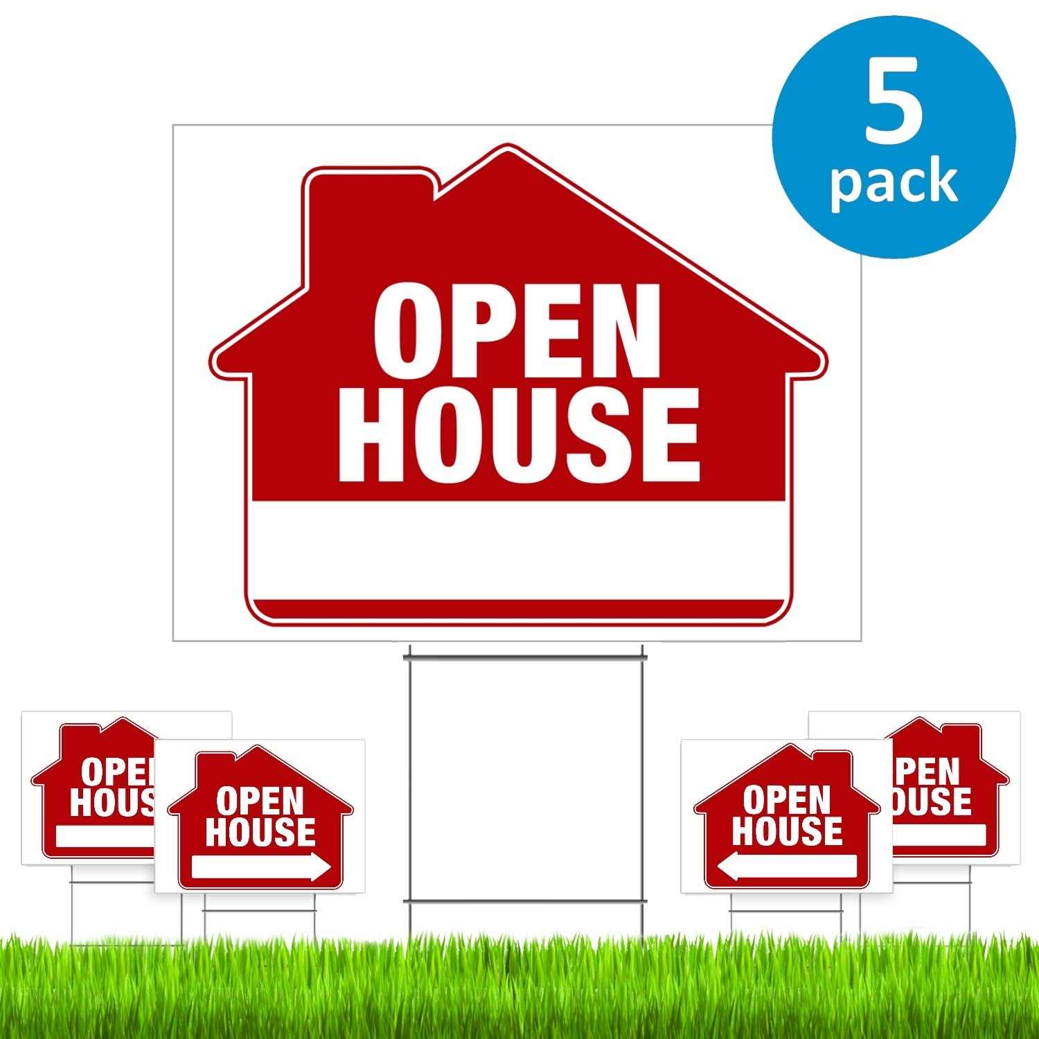 """Open House Signs for Real Estate (5 Pack) – PRO Double-Sided Realtor Signs with Yard Stakes – Open House Sign Kit for Private Sellers & Real Estate Agents (Large 18"""" x 24"""" Size) – New!"""