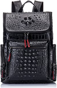 Boshiho Real Leather Laptop Backpack Fashion Travel Bag Daypack for Men (Crocodile Pattern)
