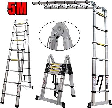 Bowose Escalera Plegable de 5 m Escalera Extensible telescópica EN131 de Aluminio Certificado, portátil, Multiusos, Montura A, 2,5 + 2,5 m, Escalera de 150 kg de Capacidad de Carga: Amazon.es: Coche y moto