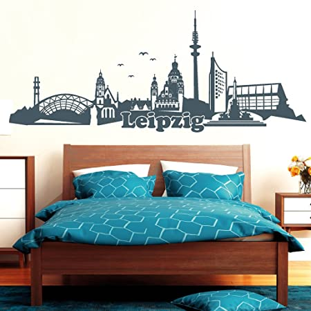 Wandtattoo Loft Wall Sticker With Text Loft Skyline Leipzig Wall