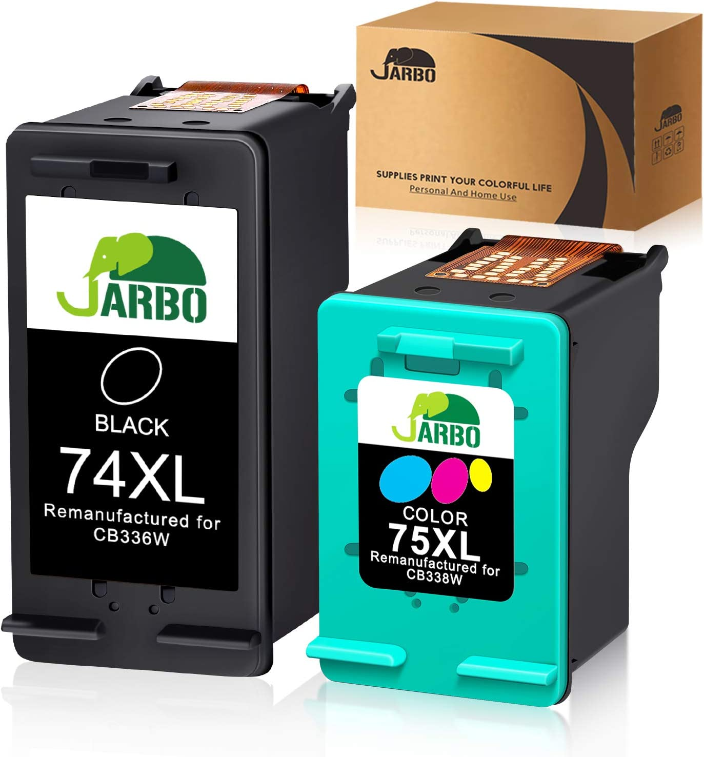 JARBO Manufactured Ink Cartridge for HP 74 75, HP 74XL 75XL, 1 Black+1 Tri-Color, Use with HP Officejet J6480 J5780 Deskjet D4260 D4360 Photosmart C4280 C5280 C4480 C4580 C4385 C5580