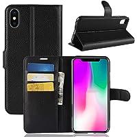 """Capa Capinha Carteira Case 360 Para iPhone X e Xs De Tela 5.8"""" Couro Sintético Flip Wallet Para Cartão - Danet (Preto)"""