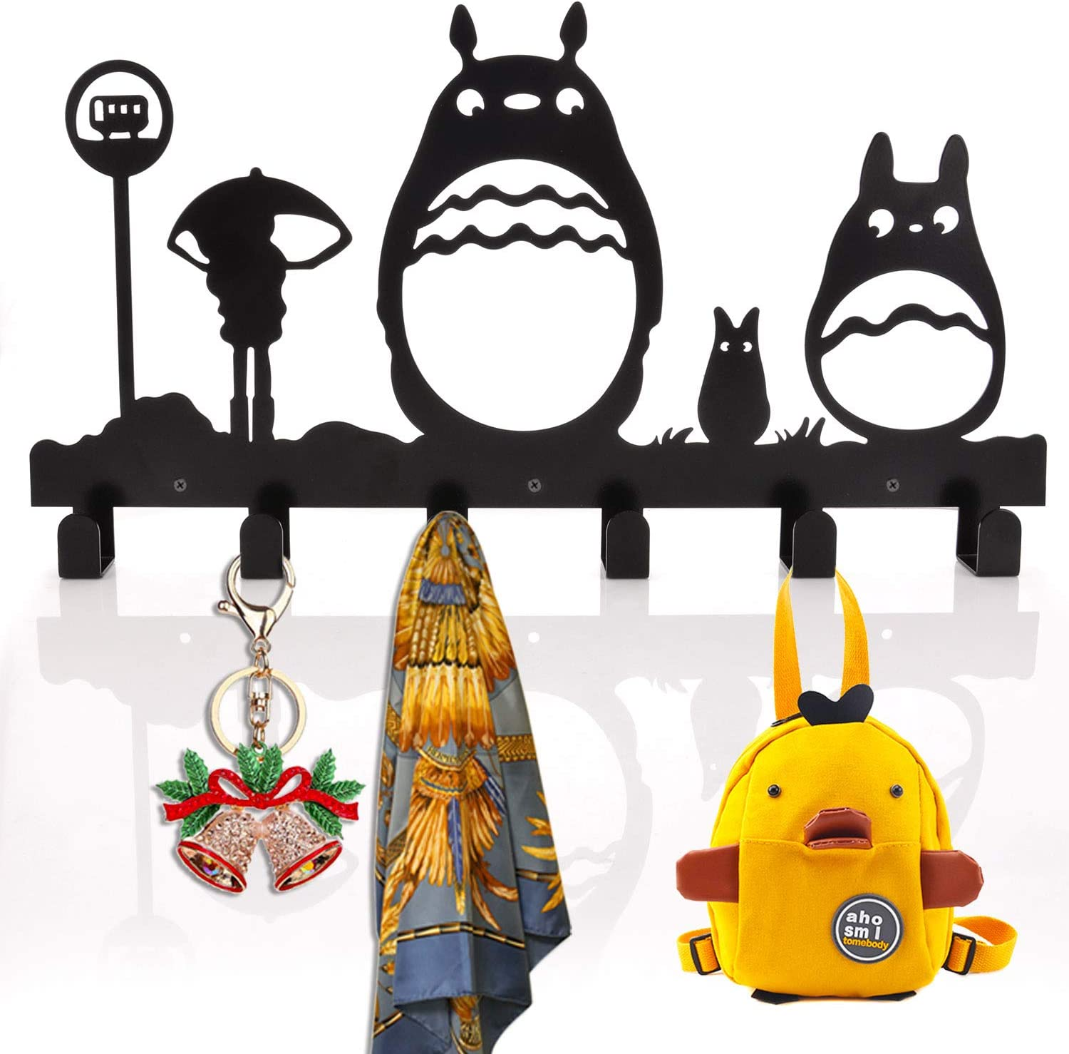 Kathy Coat Hooks Wall Mounted Entryway Dog Leash and Key Holder Hat and Belt Hanger Totoro Pattern Sweet Black Finish 6 Hooks
